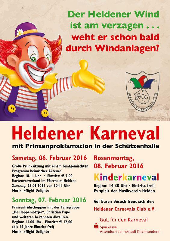 einladung zum heldener karneval 2016 – heldener carnevals club e.v., Einladungen