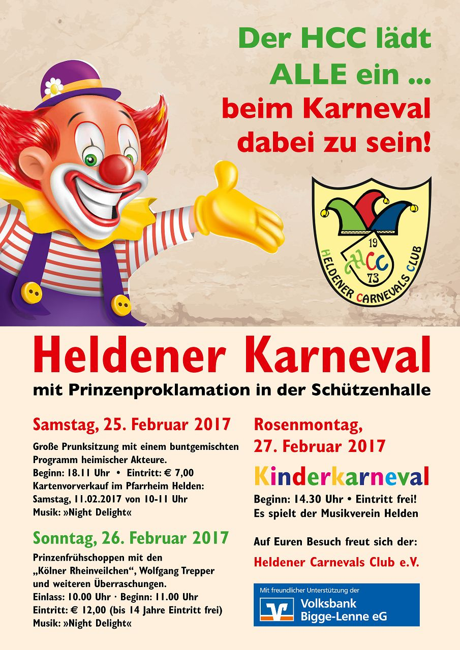 einladung zum heldener karneval 2017 – heldener carnevals club e.v., Einladungen